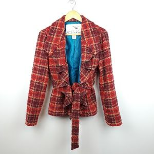 Anthropologie | Tabitha Tweed Plaid Ruffle Coat